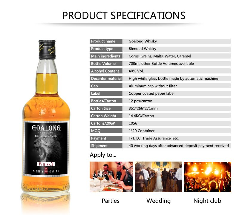 Licor de whisky Goalong licor 700ml 40% abv